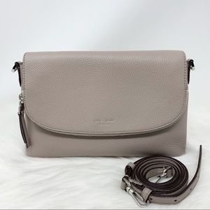 Kate spade large flap crossbody poly warm taupe